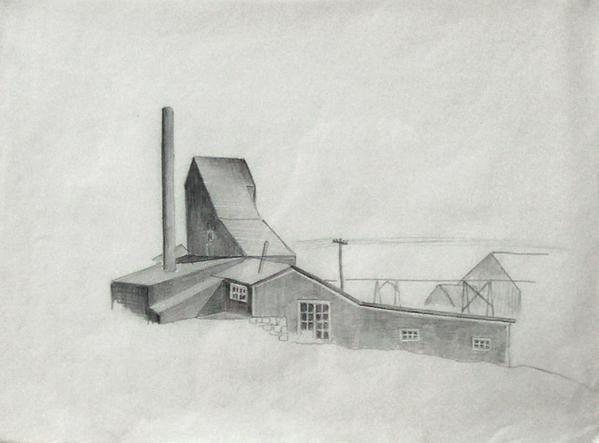 COLORADO MINE STUDY, c. 1932 Graphite 11 x 15 inch...
