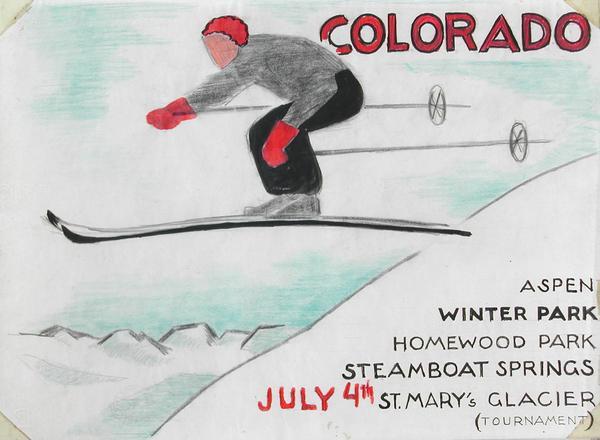 COLORADO SKI JUMPER Gouache, watercolor, colored p...
