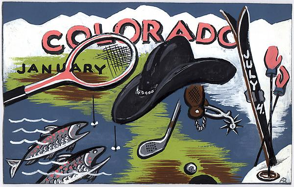 COLORADO SPORTS, c. 1933 Gouache on paper board 7...