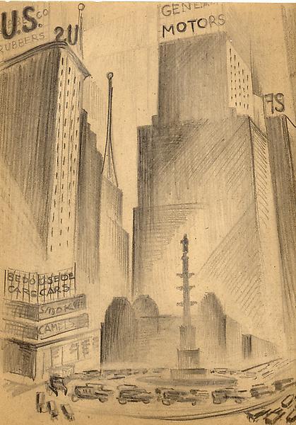COLUMBUS CIRCLE, NEW YORK, c. 1926 Graphite on pap...