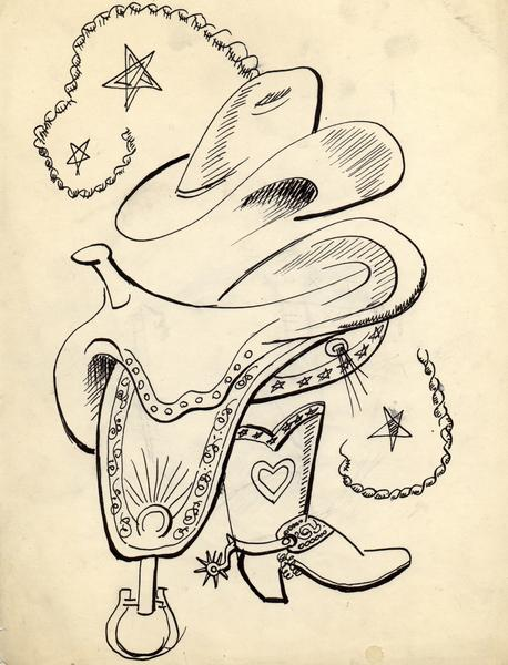 SADDLE, BOOT AND HAT SKETCHES, COLORADO, c. 1933 G...