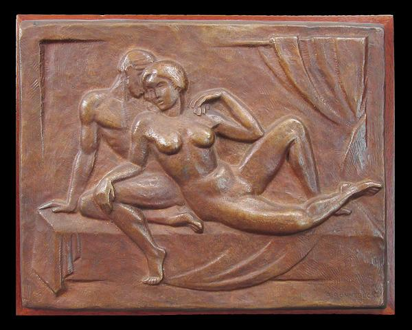 LOVERS, c. 1925 Bronze 10 1/2 x 13 3/8 inches Sign...
