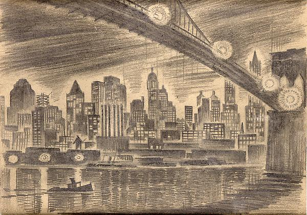 MANHATTAN, 1928 Graphite 8 7/8 x 11 7/8 inches Sig...