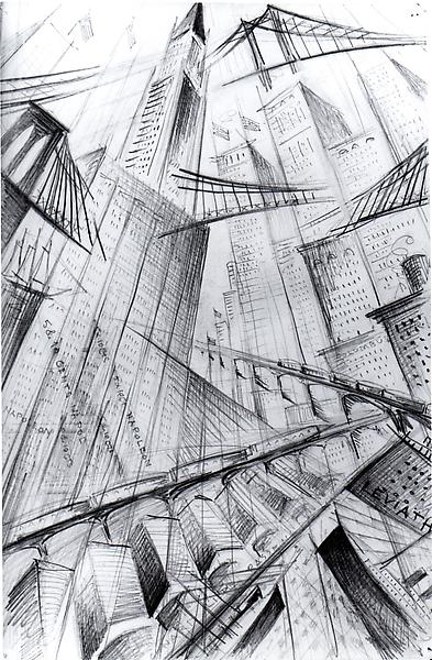 MANHATTAN FANTASY, c. 1926 Graphite on paper 8 7/8...
