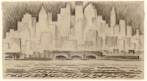 MANHATTAN SKYLINE, NIGHT, c. 1928 Graphite 5 5/8 x...