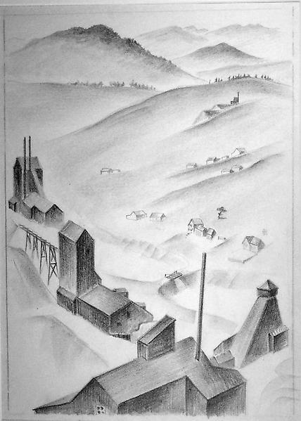 MINING TOWN, COLORADO, c. 1932 Crayon on paper 15...