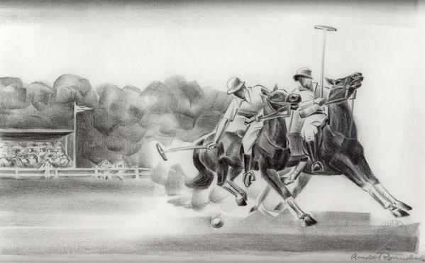 POLO, c. 1925 Crayon on paper 9 3/4 x 14  inc...