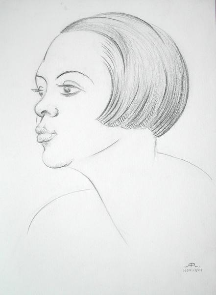 PROFILE PORTRAIT OF A DANCER, 1924 Graphite 14 5/8...