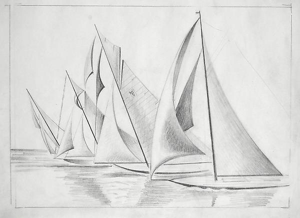 SAILBOATS, NY5, c. 1932-36 Graphite and charcoal 1...