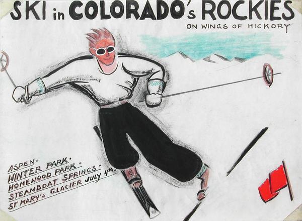SKI IN COLORADO'S ROCKIES Gouache, watercolor,...