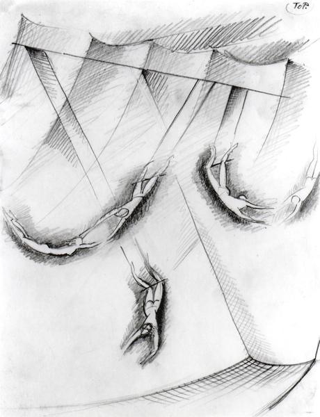 TRAPEZE ARTISTS, c. 1937 Graphite 10 3/4 x 8 1/4 i...