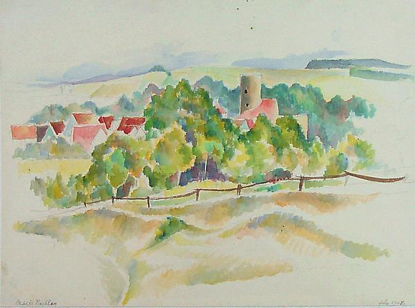 BURGTHANN LANDSCAPE, 1928 Watercolor, laid down 10...