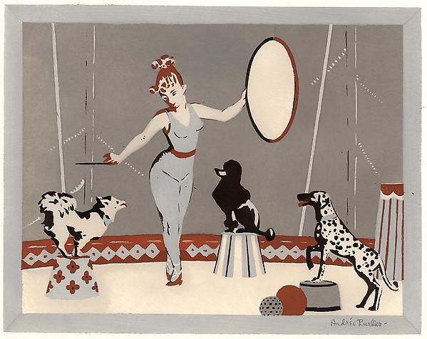 DOG CIRCUS, c. 1930 Serigraph 9 3/4 x 12 1/2 inche...