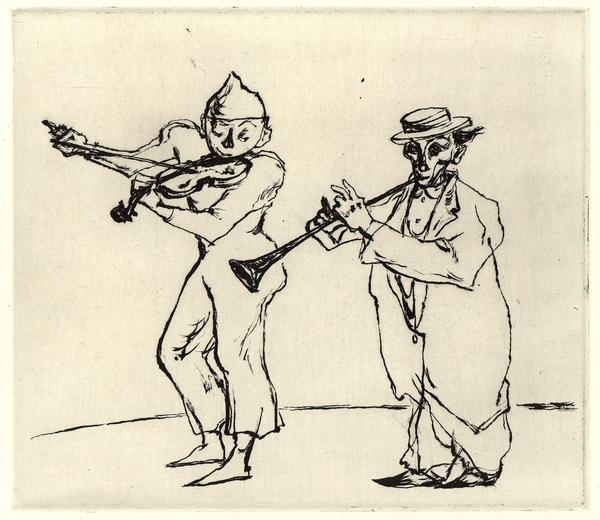 MUSICAL CLOWNS, 1950-51 Sugar lift aquatint 7 3/4...