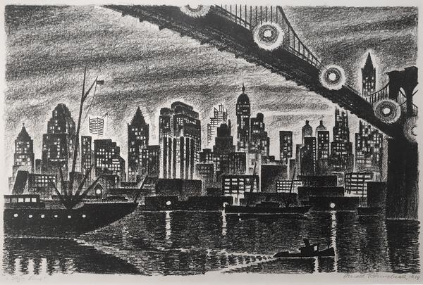 SKYLINE (also MANHATTAN), 1928 Lithograph 9 x 13 3...