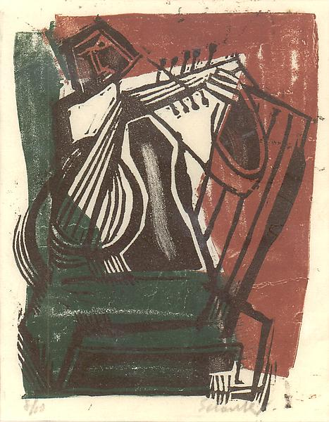 GIRL WITH LUTE, 1938 Color linolium cut 6 x 5 inch...