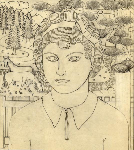 JACQUELINE WITH LANDSCAPE, c. 1935 Graphite 14 5/8...