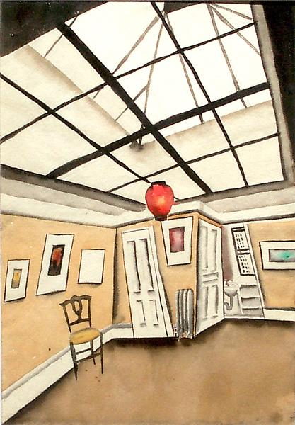 INTERIOR WITH SKYLIGHT, c. 1930 Watercolor with tr...