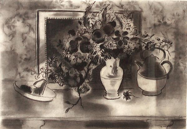 STILL LIFE, c. 1940 Charcoal 15 x 21 inches Signed...