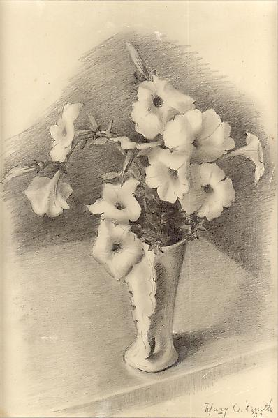 WHITE PETUNIAS, 1932 Graphite 11 3/4 x 8 1/4 inche...