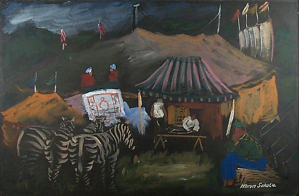 CIRCUS SIESTA #2, c. 1938 Gouache on black paper 1...