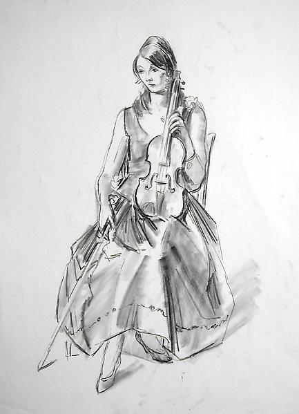 VIOLINIST, c. 1935 Charcoal 17 x 14 inches Signed:...