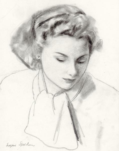 LADY WITH KERCHIEF, c. 1935 Graphite 12 x 9 3/4 in...