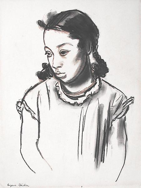 A YOUNG GIRL, c. 1936 Charcoal and crayon 17 x 13...