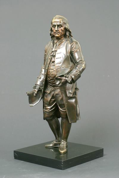 BENJAMIN FRANKLIN, c. 1850 Bronze on wood base 15...