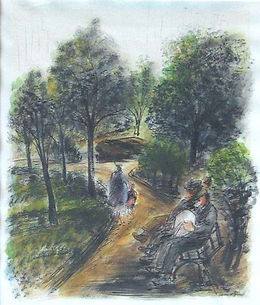 CENTRAL PARK, NEW YORK, c. 1941 Ink and watercolor...