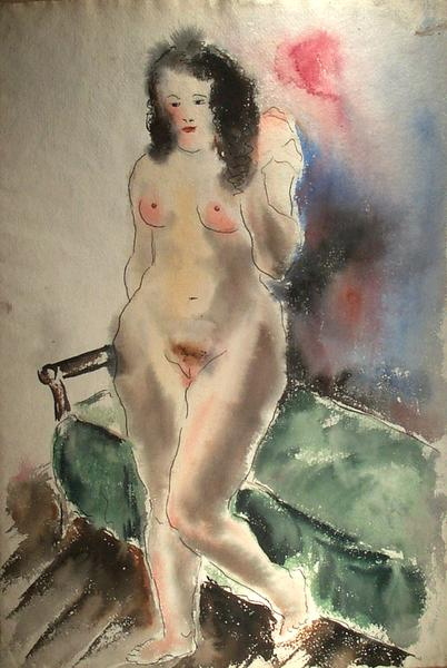 STANDING NUDE WITH GREEN BED, 1931 Watercolor and...