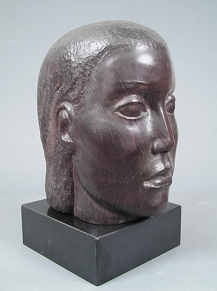 HEAD, c. 1935-43 Lignum vitae on marble base 14 x...
