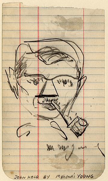 PORTRAIT OF JOHN HELD, c. 1935 Graphite on lined p...