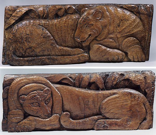 TIGER, TIGER, 1943 Pair of oak bas-relief panels L...