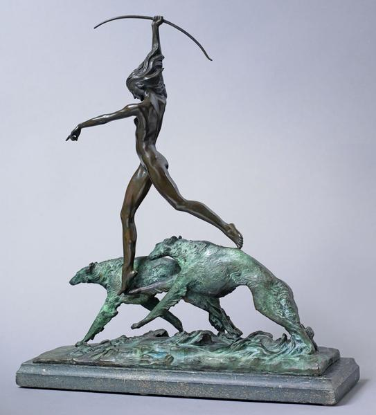 DIANA (also THE HUNT), Modeled 1921-22 Bronze on s...