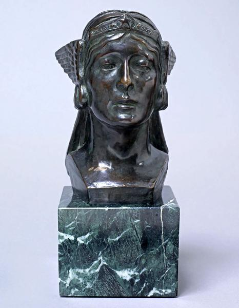 PAX, 1924 Bronze on marble base 7 1/2 x 5 x 6 inch...