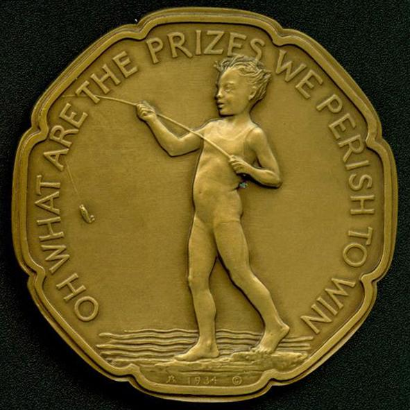 OH WHAT ARE THE PRIZES..., 1934 Bronze 2 7/8 inch...
