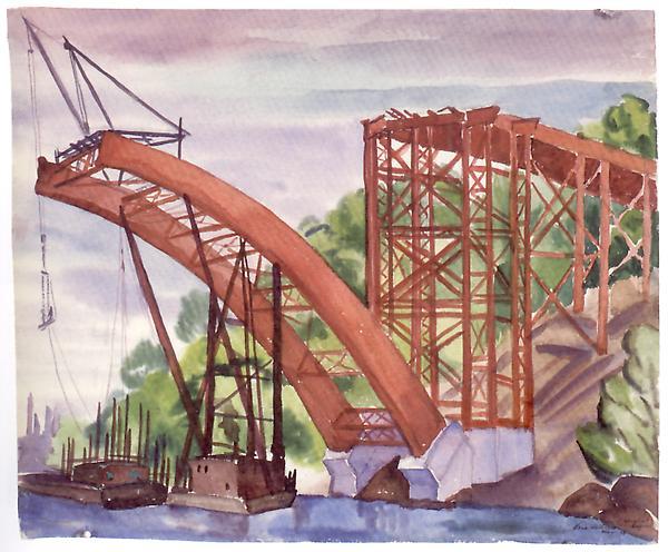 HARLEM RIVER BRIDGE CONSTRUCTION AT SPUYTEN DUYVIL...