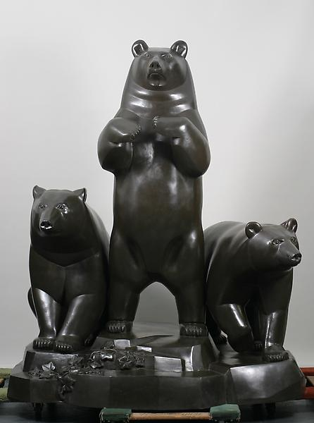 GROUP OF BEARS, modeled 1932, this cast 1999 Bronz...