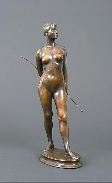 DIANA, 1910 Bronze 19 x 4 3/4 x 9 1/4 inches Signe...