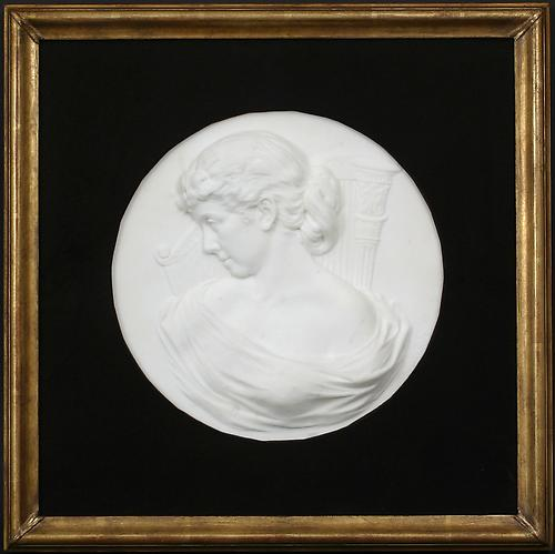 MUSE OF MUSIC, c. 1880Marble bas relief on a woo