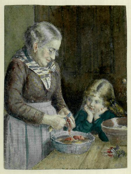 PEELING APPLES, c. 1880 Watercolor 6 x 5 inches Si...
