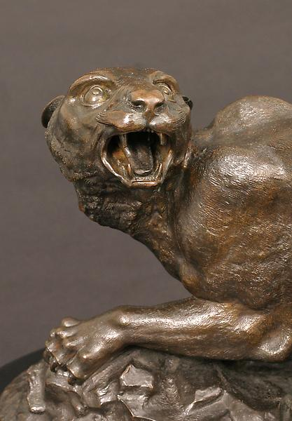 PANTHER AND CUBS, c. 1850-55 Bronze on wood base 9...