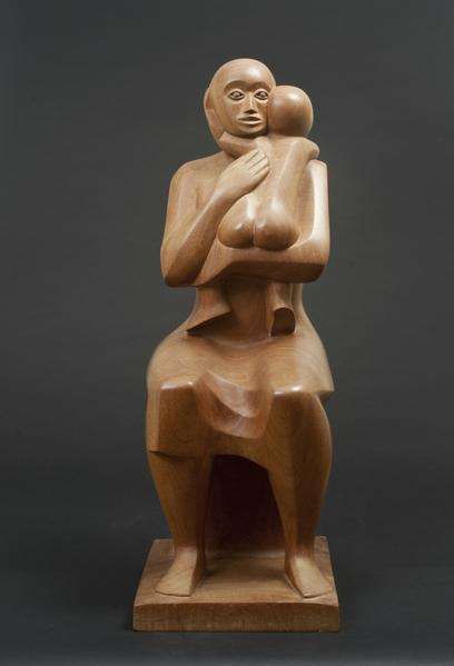 MOTHER AND CHILD, 1977 Wood 27 1/4 x 9 3/8 x 11 3/...