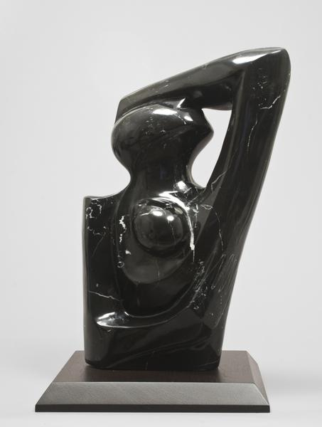 MOTHER AND CHILD, c. 1970 Black marble with white...