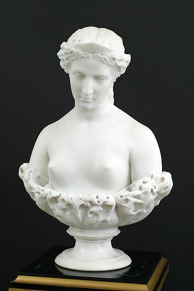 HELEN OF TROY, 1867 Marble on original socle Signe...