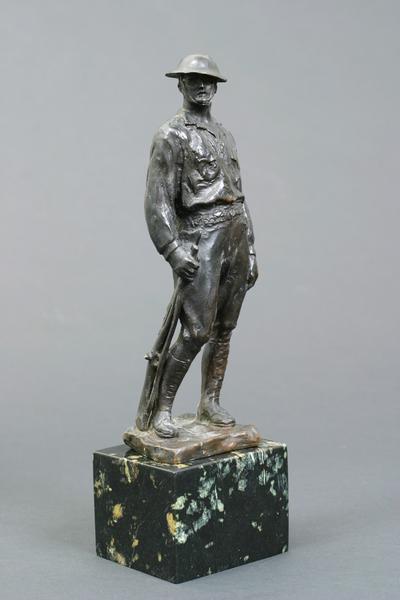 DOUGHBOY, 1919 Bronze on marble base 9 1/4 x 3 1/4...