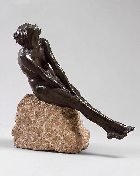 FIGURE IN ACTION, c. 1913 Bronze and Burgundy lime...