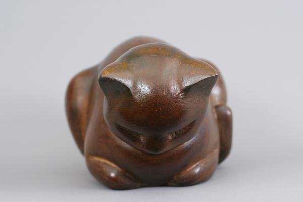 SLEEPING KITTEN, c. 1939 Mahogany 4 x 7 1/2 x 4 1/...