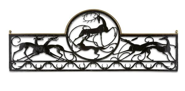 STAG AND HOUND BALCONY RAILING, c. 1920 Wrought ir...